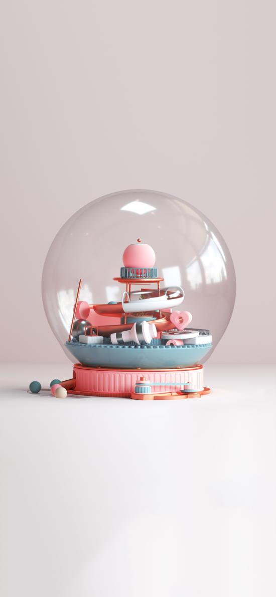 玩具 装饰 水晶球 小型游乐园