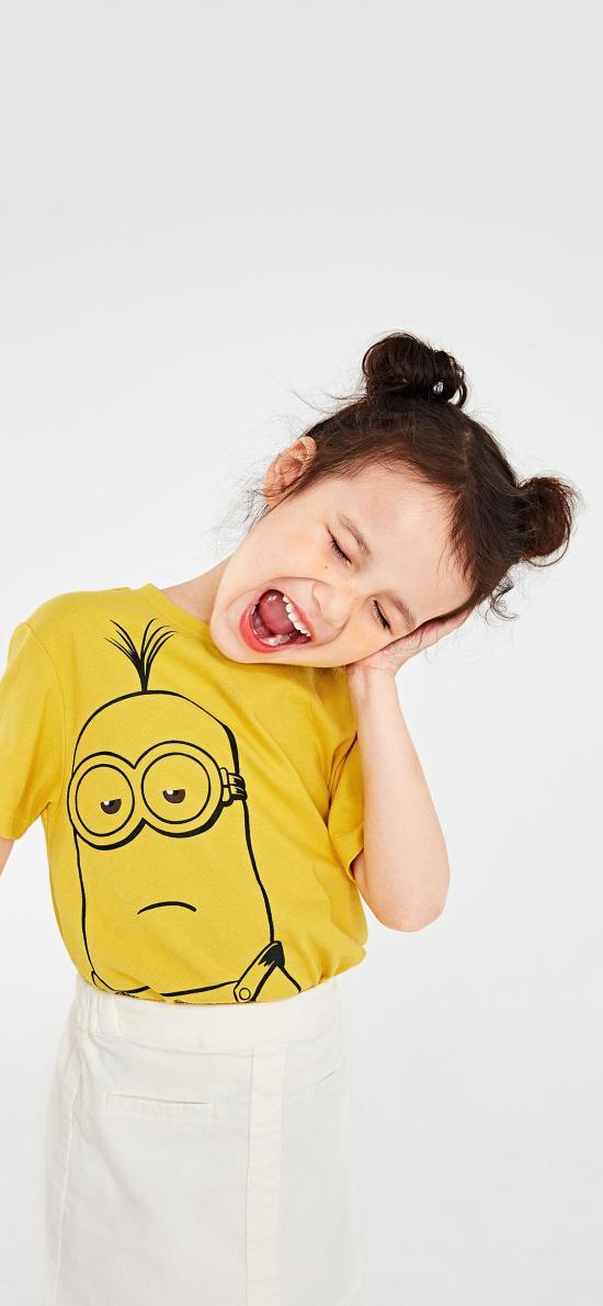 小女孩 可爱 小黄人 丸子头 儿童