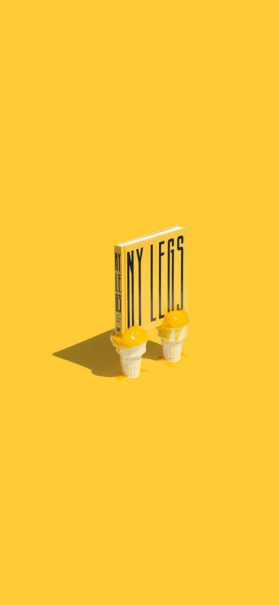 冰淇淋 书 创意 黄