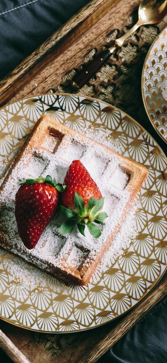 华夫饼 草莓 点心 咖啡
