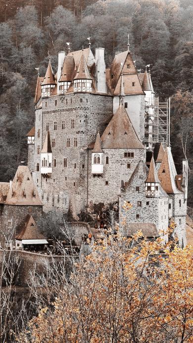山峰 欧式建筑 城堡 复古