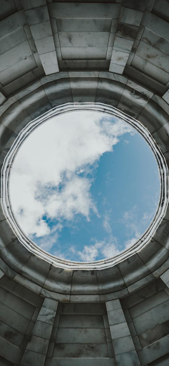 天空 圆 蓝天白云 建筑