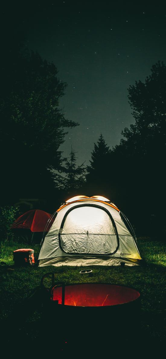 夜晚 星空 郊外 露营 帐篷