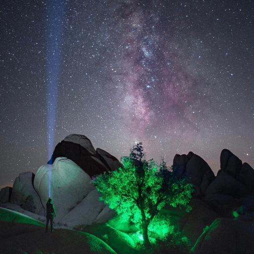 星空 夜晚 树木 石山