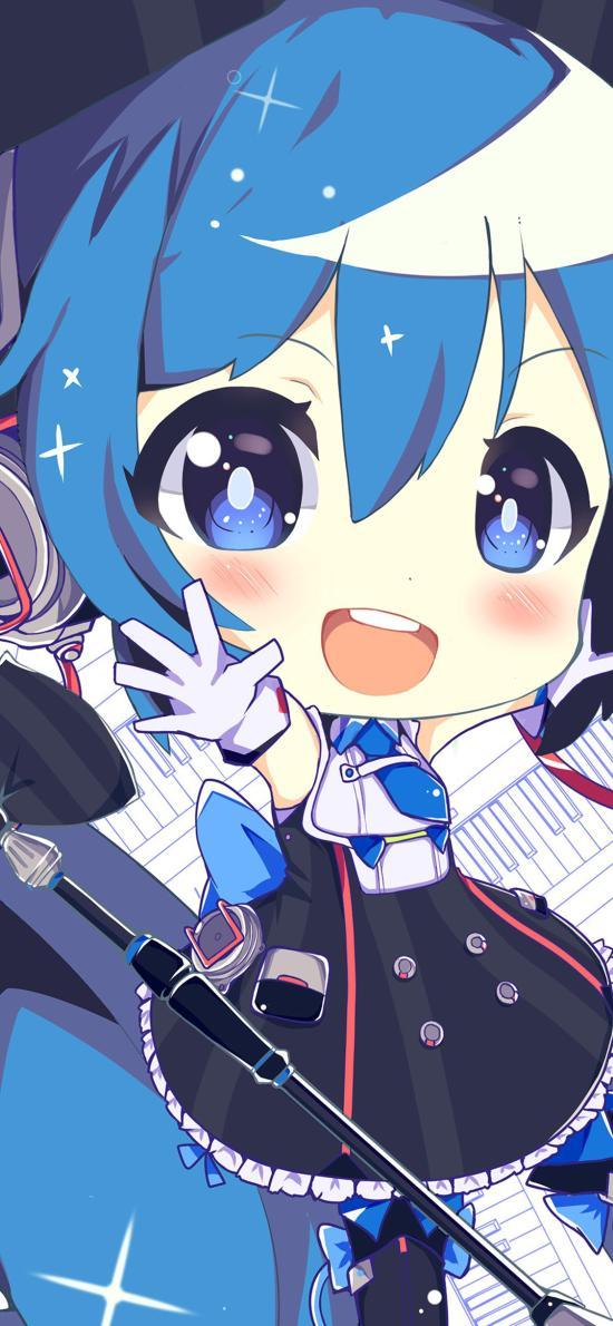 可爱 蓝色 动漫少女 萌