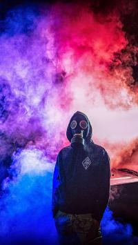 防毒面罩 烟雾 红蓝