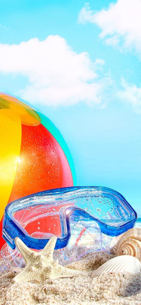 沙滩 皮球 泳镜 蓝天白云