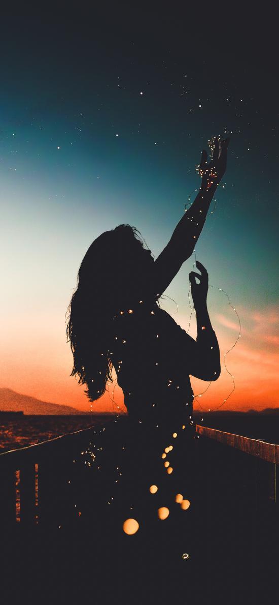 创意 女孩 阴影 夜晚 彩灯