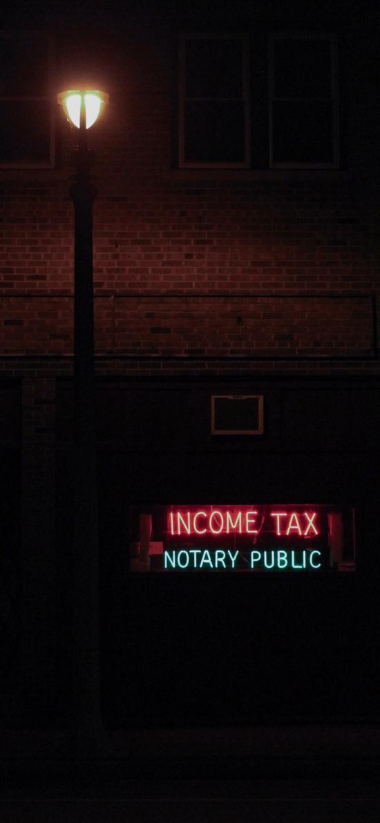 夜晚 街灯 招牌 income tax