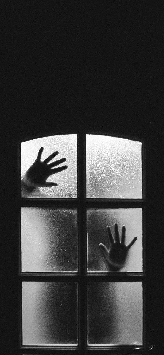 创意摄影 窗户 禁锢 手印 黑白