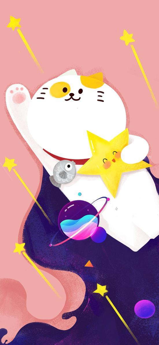 猫咪 插画 可爱 飞天 星星 宇宙