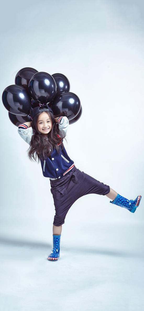 小女孩 时尚 气球 欧美 儿童 孩童