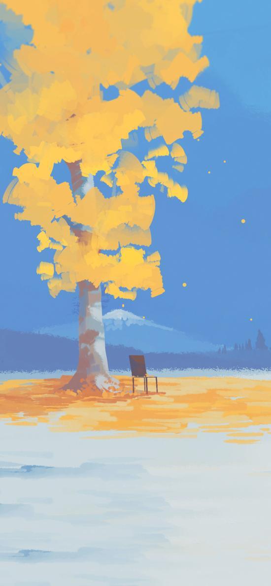 秋季插画 树木 金黄