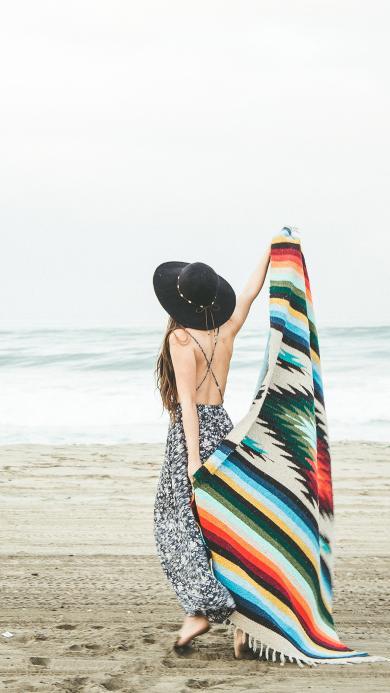 背影 沙滩 女孩 露背 性感