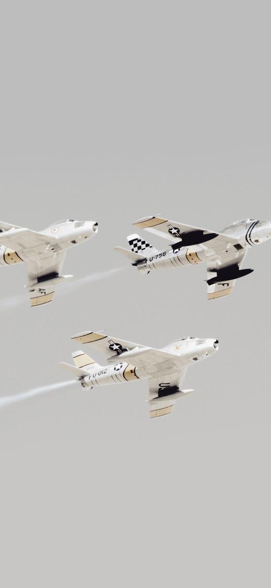 飞机 战斗机 烟雾 排列 飞行 航空