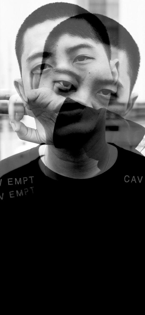 创意摄影 男孩 黑白 重叠