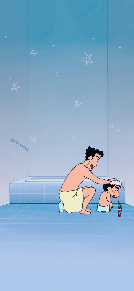日本 动漫 蜡笔小新 洗澡