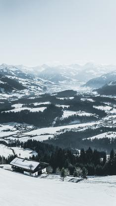 俯拍 雪景 雪屋 山地