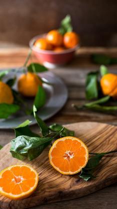 水果 砂糖橘 枝叶 切半