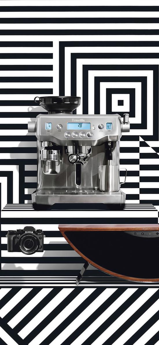 咖啡机 黑白条纹 背景