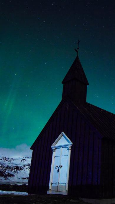 北极 雪地 房屋 极光美景
