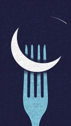 插画 月亮 叉子 臆想