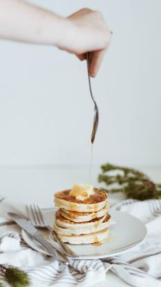 松饼 甜品 点心 层叠 蜂蜜