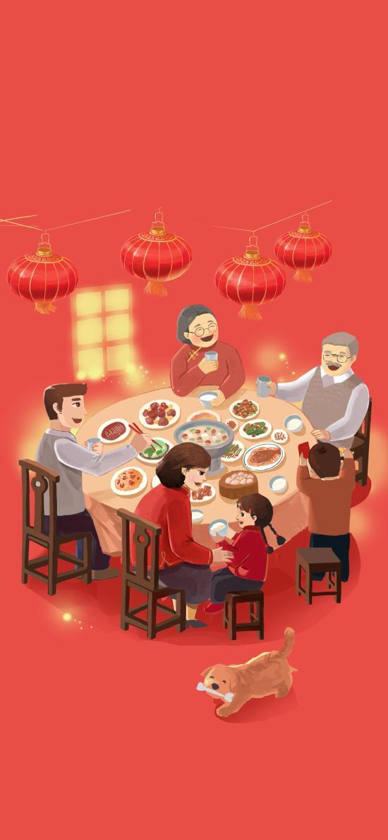 团圆饭 年夜饭 红色 灯笼 家人