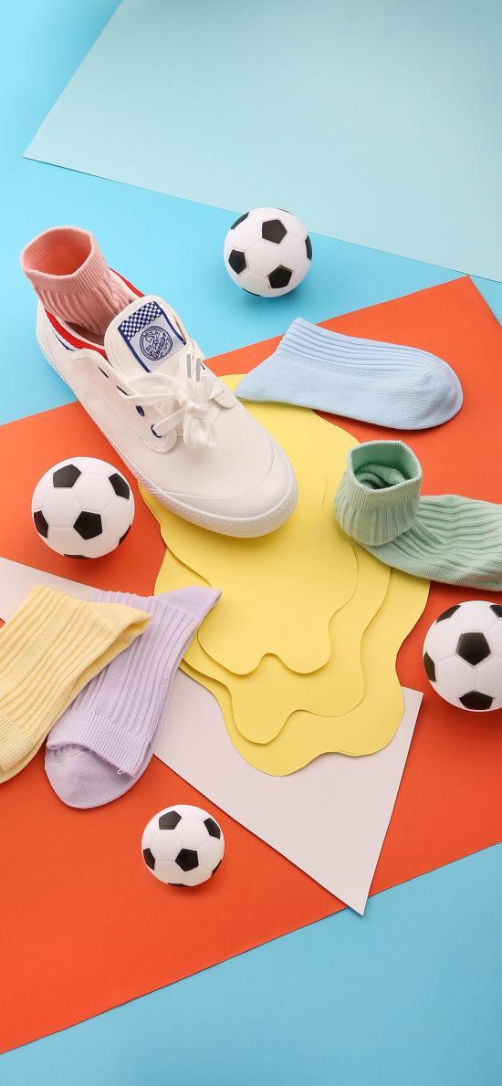 摆拍 色彩 鞋子 袜子 纸艺 足球