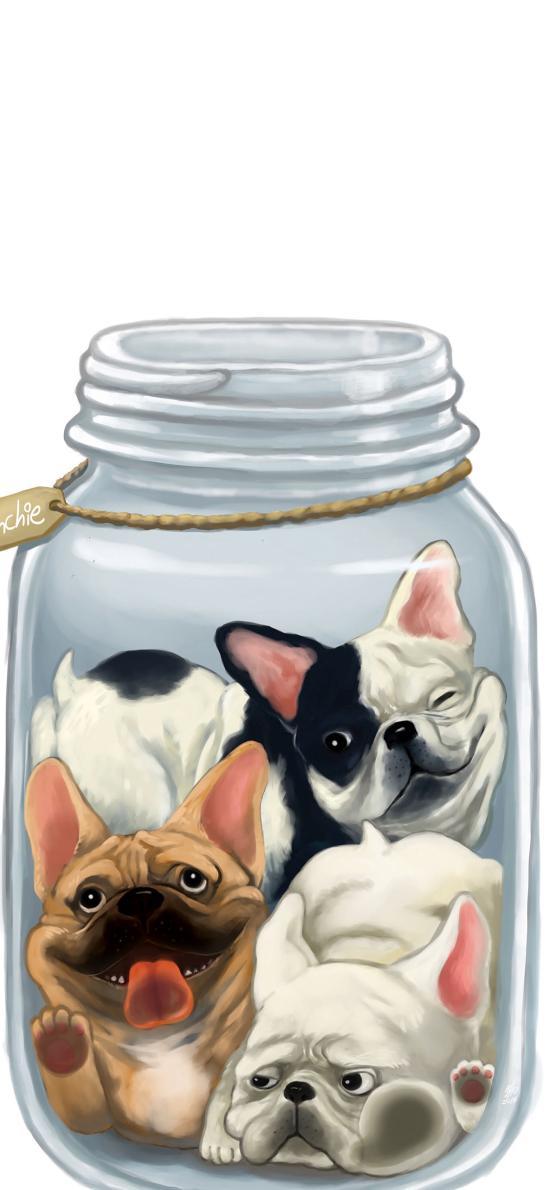 玻璃瓶 罐子 狗 汪星人 可爱 插画