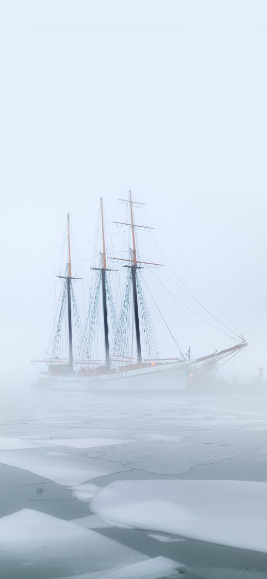 轮船 冰面 雾气 朦胧 零度