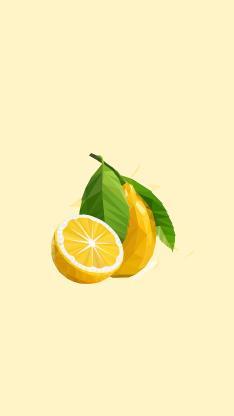 柠檬 水果 几何 构成 设计 黄色