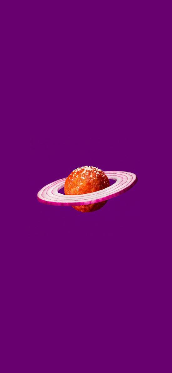 星球 洋葱 肉丸 食物 紫色