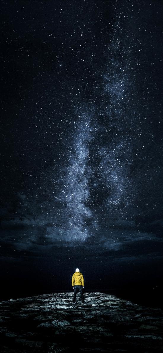 夜晚 星空美景 背影