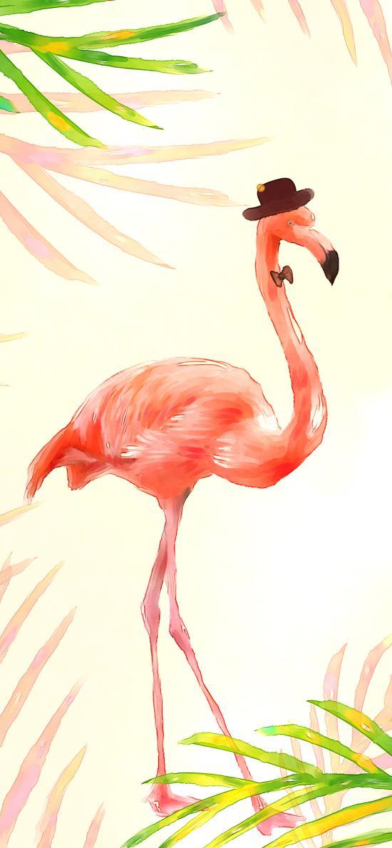 火烈鸟 插花 绘画 创意