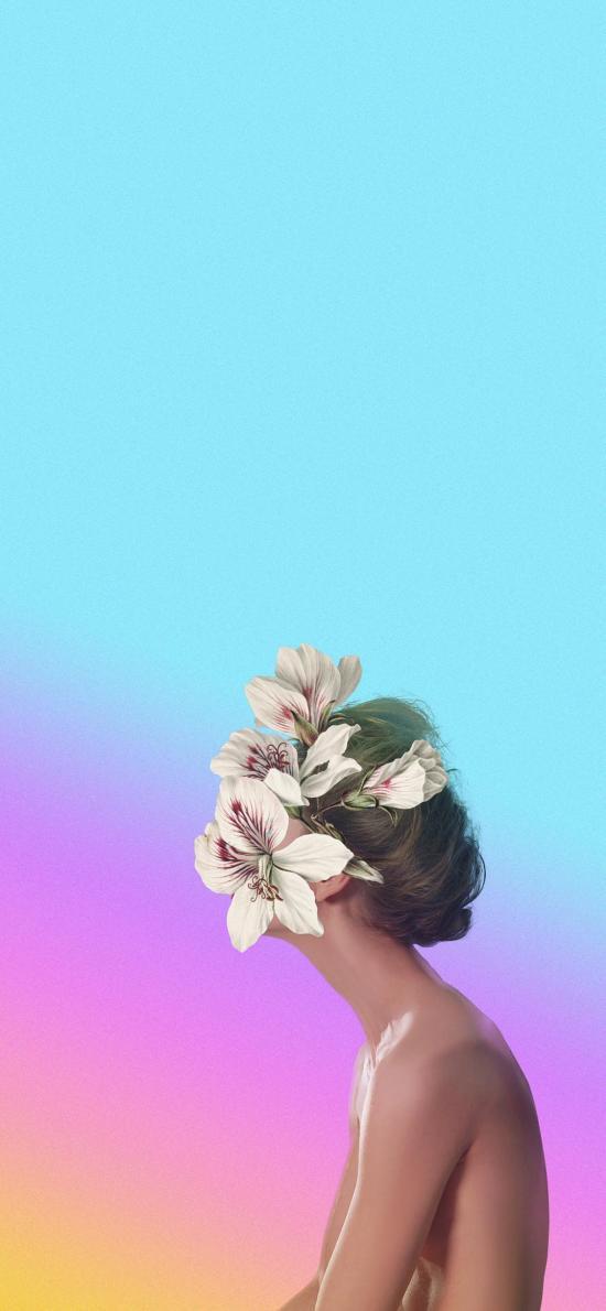 创意摄影 鲜花 女孩 结合 性感