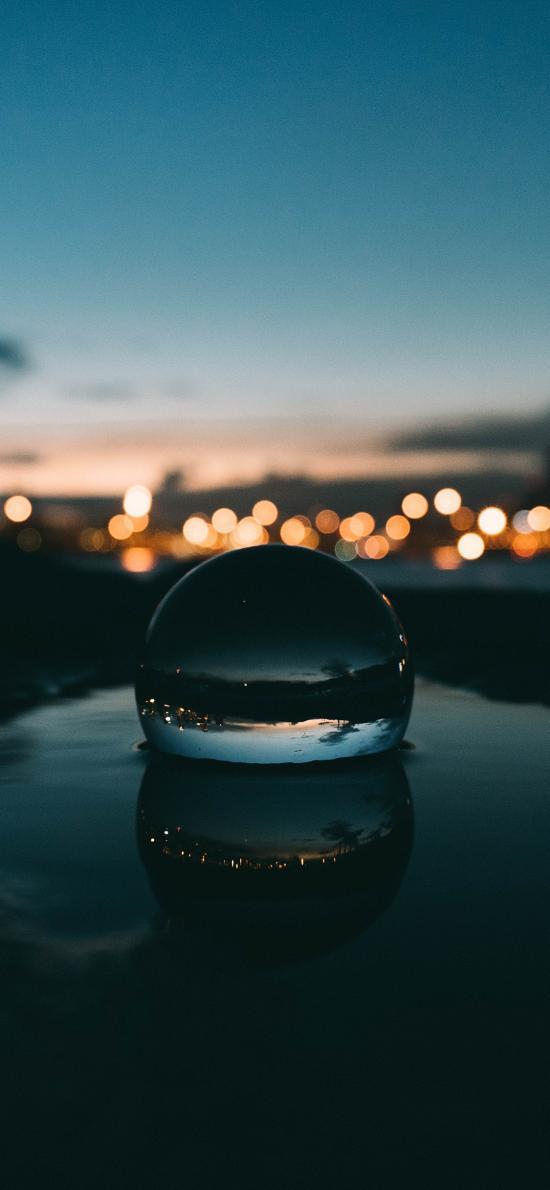水滴 夜色 透明 灯光