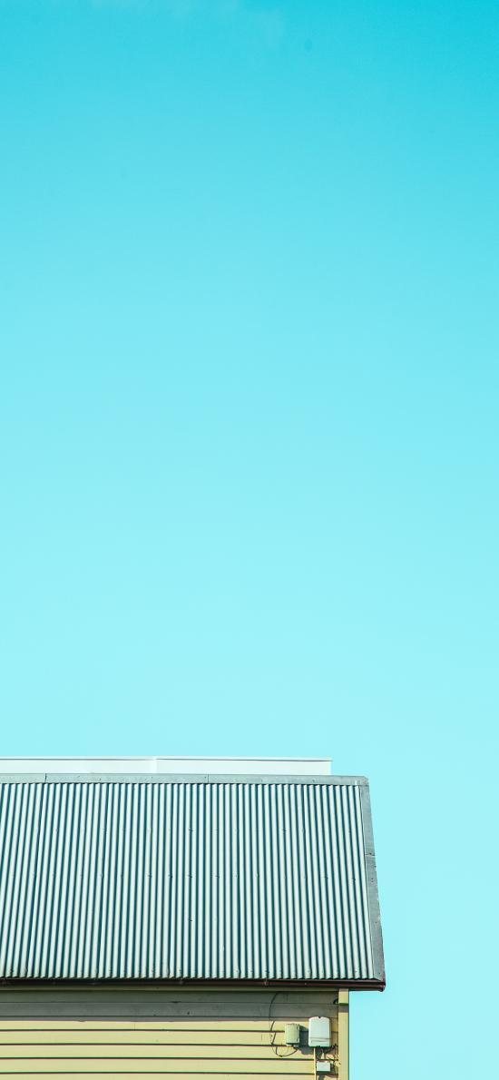 屋顶 蓝色 天空 唯美