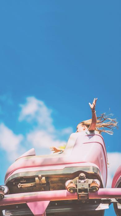 蓝天 白云 游乐设施 过山车