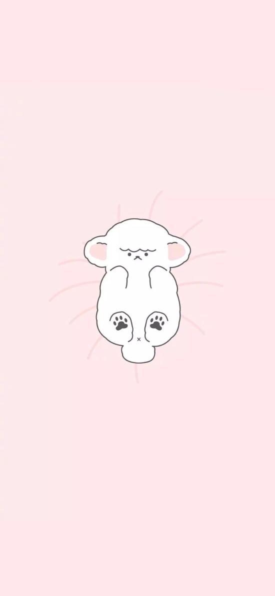 粉色背景 卡通 羔羊