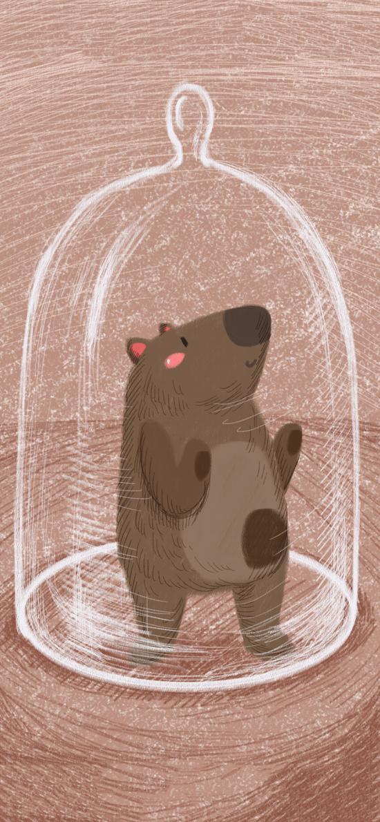创意 插画 小熊 唯美 玻璃罩