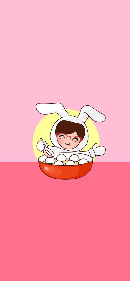 元宵佳节 卡通 兔子 吃汤圆