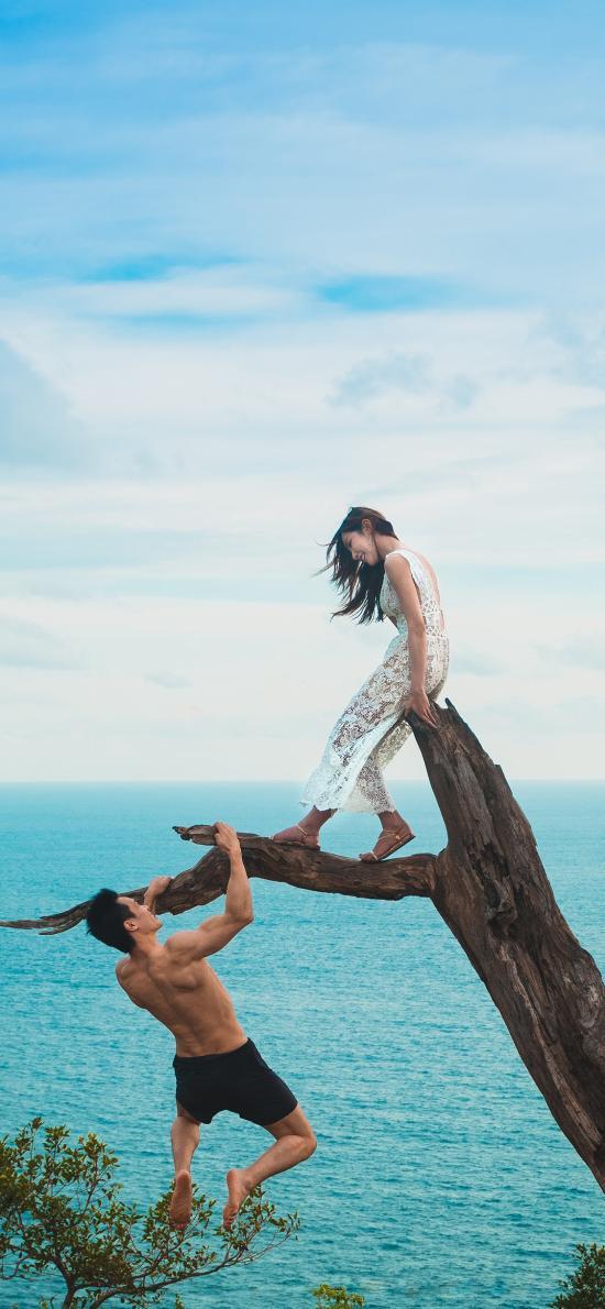 情侣 拍照 创意 大海