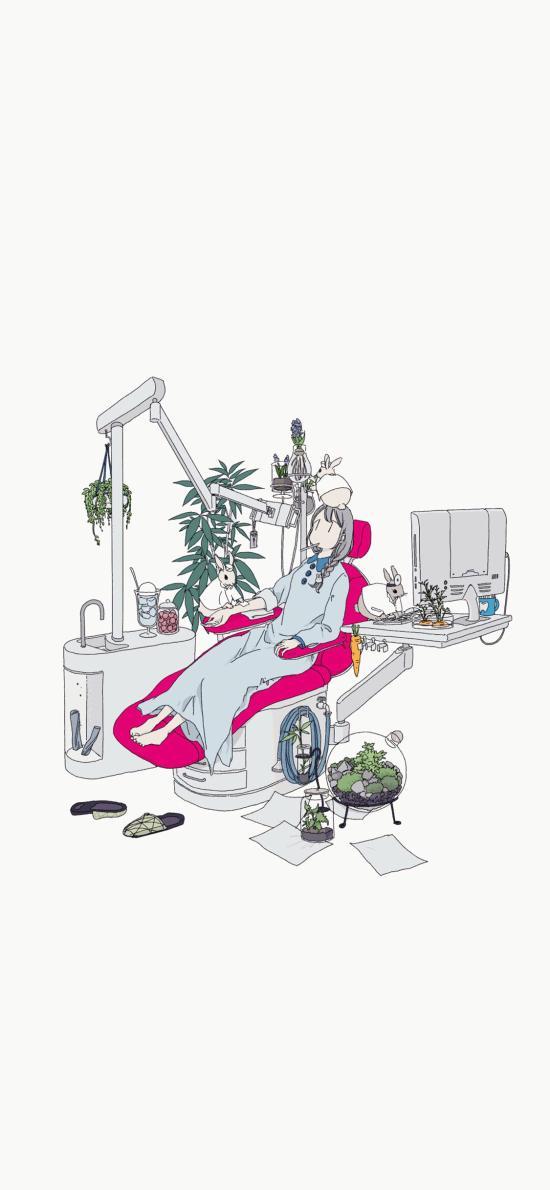 女孩插画 牙医 看牙 兔子