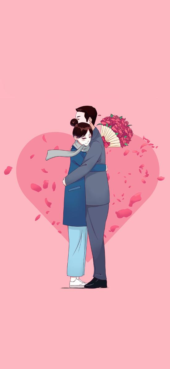 拥抱 粉色 爱心 情侣 浪漫 爱情
