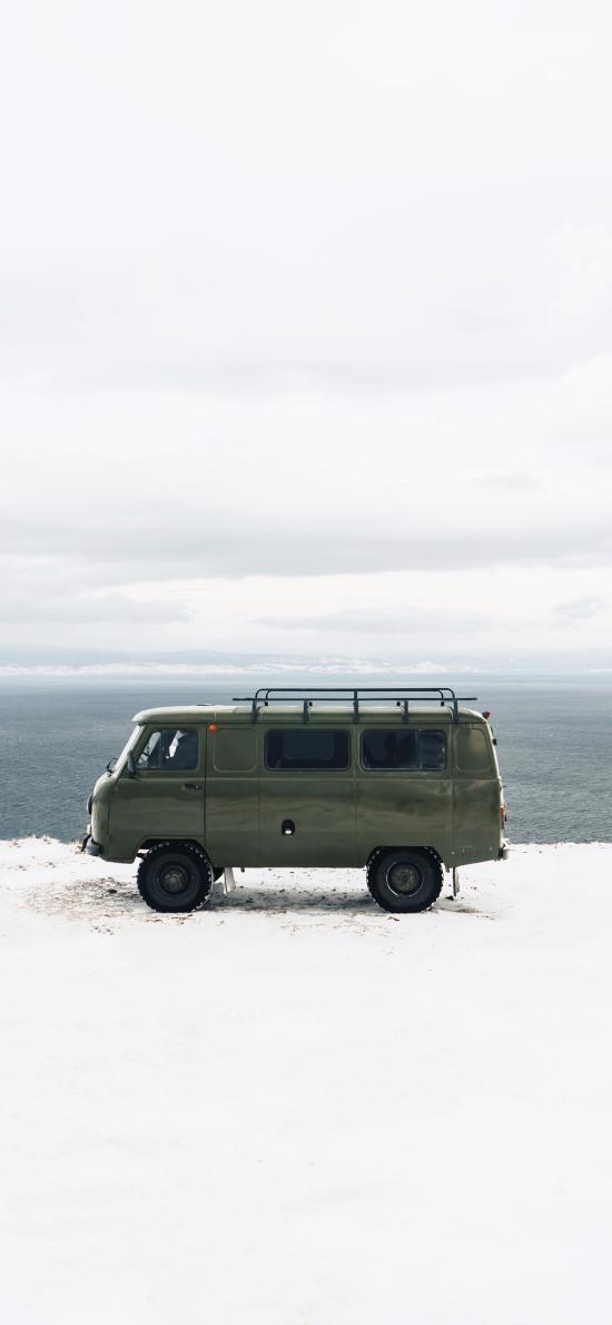 面包车 汽车 旅行 雪地