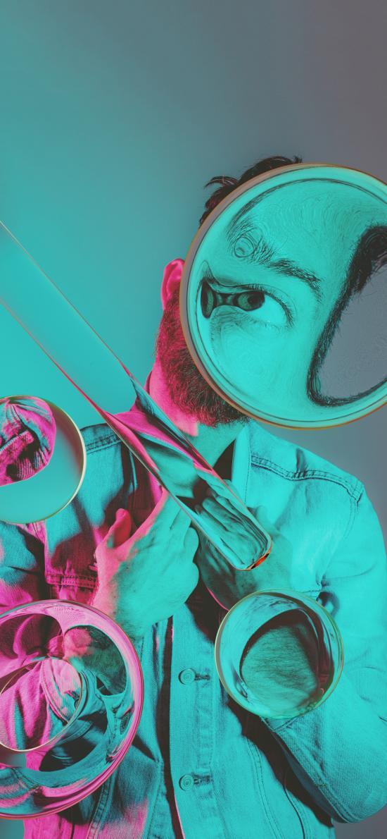 人物 摄影 几何 变形 透明
