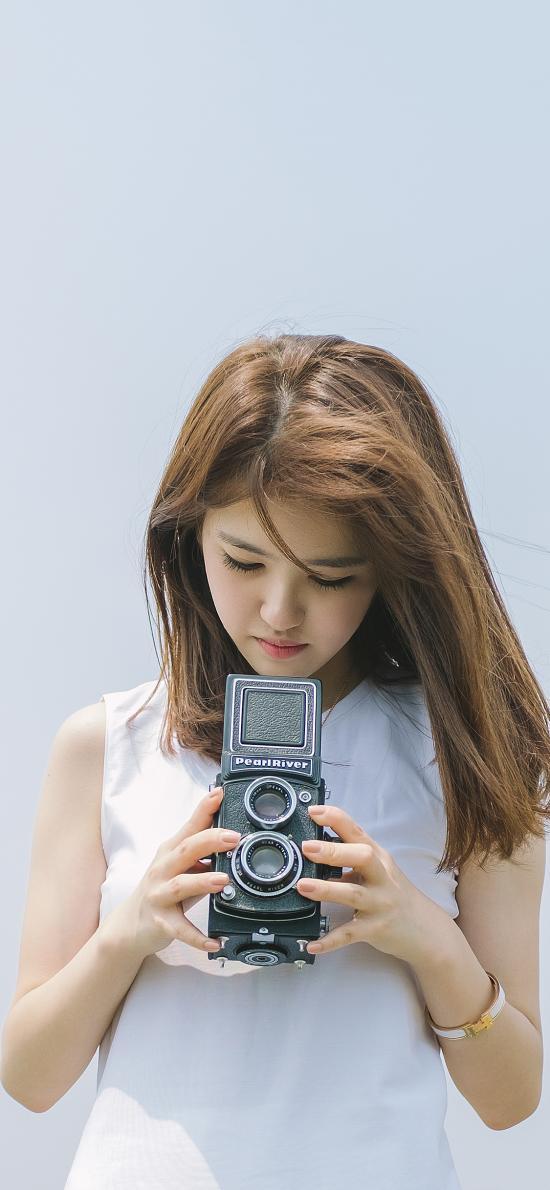 文艺范 小清新 摄影 女孩 双反相机