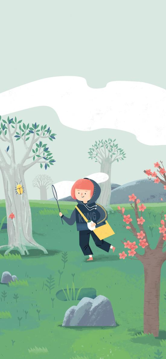 郊外 吾空空插画 小女孩 树林