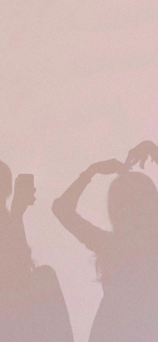 墙壁 情侣 投影 比心